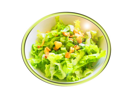 Lettuce with garlics salad. Composition.