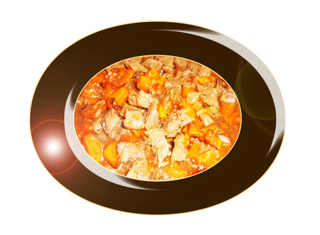 carots: Meat stew with carots. Composition. Stock Photo