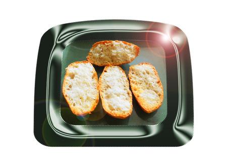Pan de ajo con aceite de oliva. Composición. Foto de archivo