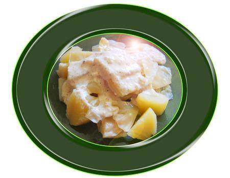 Repollo con salsa de anacardos. Composición. Foto de archivo