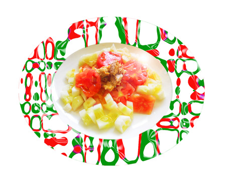 Ensalada de pepino con tomate y la caballa. Composición Foto de archivo - 34056735