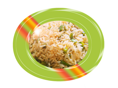 Sauteed rice with green pepper. Composition
