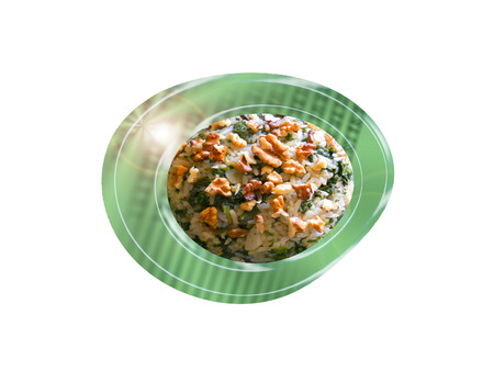 Rice with spinach and walnuts. Composition. Foto de archivo