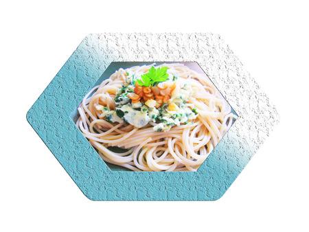Espaguetis con huevo. Composición.