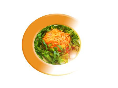 Zanahoria con ensalada de espinacas. Composición.