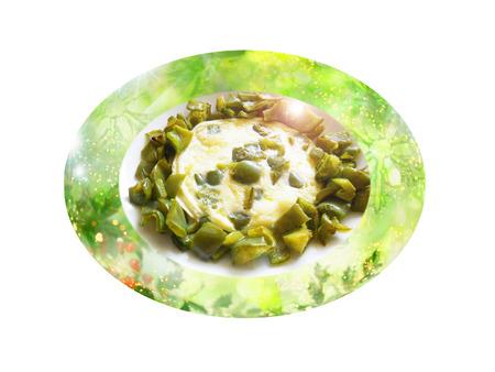 Verde omelet pimienta. Composición de la Navidad. Foto de archivo - 34633294