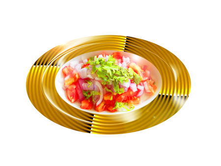 Tomate con ensalada de cilantro