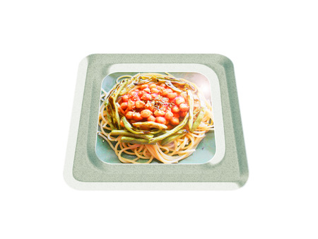 Spaghetti with chickpea and green bean. Composition
