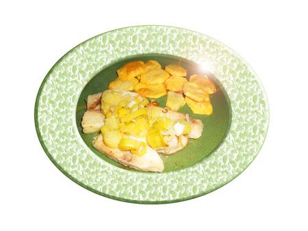 Pescado con puerros y patatas. Composición.