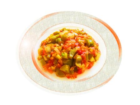 Tomate y pimienta sauted verde. Composición.
