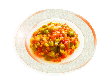 Tomate y pimienta sauted verde. Composición. Foto de archivo - 37581620