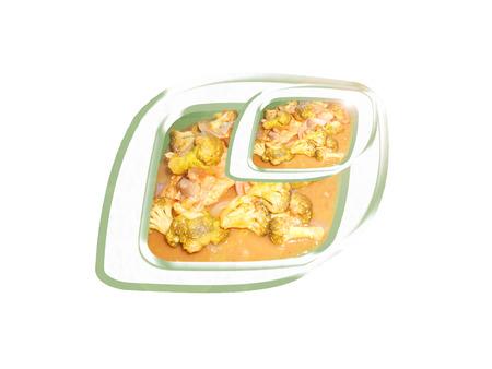 Pollo con salsa de tamarindo y el brócoli. Composición. Foto de archivo