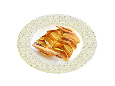 Al horno de manzana verde con cinnamom. Composición Foto de archivo