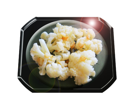 Cauliflower with baked garlic. Composition.