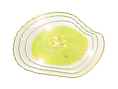 judías verdes crema caliente con cacahuetes. Composición. Foto de archivo - 66010035