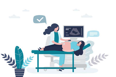 The doctor makes an ultrasound to a pregnant woman. Clinical examination, prenatal health care concept. Female characters in trendy style. Vector illustration