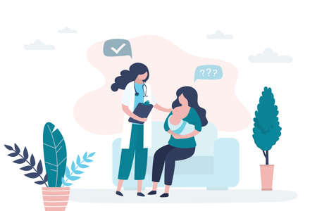 Woman holding and breastfeeding infant baby. Consultation with a mammologist or pediatrician. Doctor talking with patient. Healthcare and childhood concept background. Vecteurs
