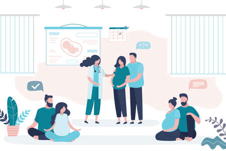 Maternity Courses concept. Pregnancy seminar. Group of pregnant women with husbands and doctor coach. Health care banner. Motherhood, parenthood and medical education.