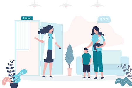 Mother brought the children to see a pediatrician. Mom with son and daughter, female medical specialist or nurse. Health care, medical consultation background. Clinic room interior. Vector illustration