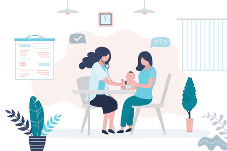Pediatrician doctor listens to a child with stethoscope. Mother holding infant baby and female medical specialist or nurse. Health care, medical consultation background. Clinic room interior. Vector illustration Vector Illustration