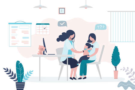 Pediatrician doctor listens to a child girl with stethoscope. Mother with daughter and female medical specialist or nurse. Health care, medical consultation background. Clinic room interior. Vector illustration Vector Illustration