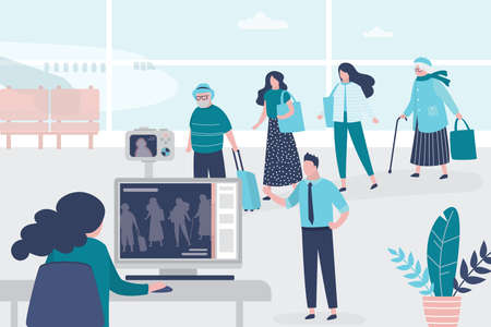 Medical workers checks the body temperature of passengers at airport terminal. Staff in uniform. Public safety concept. Quarantine and virus protection. Trendy style vector illustration