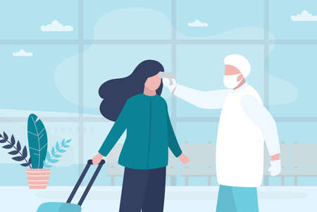 Medical worker checks the body temperature of passenger at the airport terminal. Doctor in a special uniform and mask. Virus threat, epidemic. Public safety concept. Trendy style vector illustration