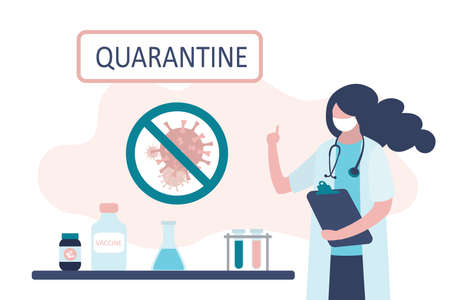 Viral quarantine concept. Female medical scientist warns of the spread of the virus. Doctor in uniform and mask, workplace desk. Trendy style vector illustration