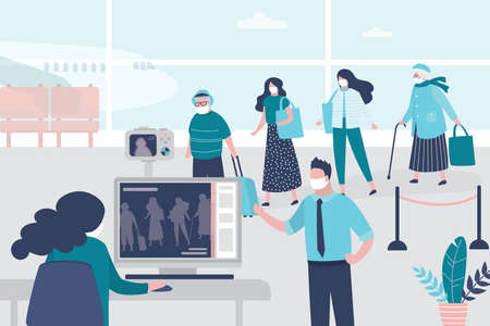 Medical workers checks the body temperature of passengers at airport terminal. Staff in uniform and masks. Public safety concept. Quarantine and virus protection.Trendy style vector illustration