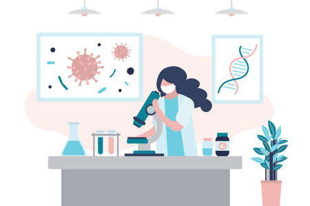 Virologist is researching a new virus, searching for antivirus and medication. Scientist in uniform and mask. Viral laboratory interior. Vaccine search concept. Trendy style vector illustration