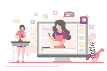 Cooking video blog on monitor display. Food blogger tells how to cook a dish. Woman chef teaches cooking new recipe. Female follower study prepare food. Video tutorial. Flat Vector illustration  イラスト・ベクター素材