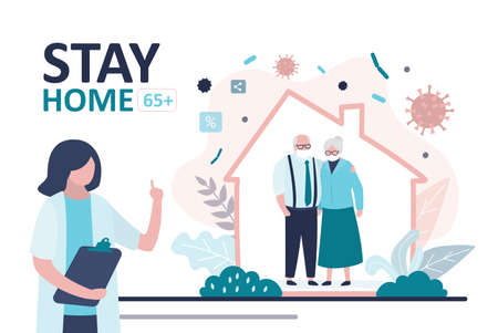Stay home banner. Female doctor warning about global viral pandemic covid-19. Grandparents at home. Coronavirus risk age group 65 and older. Quarantine or self-isolation. Health care concept.Vector