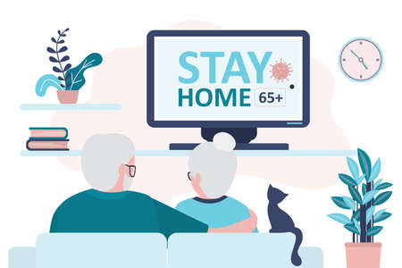 Elderly couple watch news on tv. Warning to stay home 65 and older on screen. Quarantine or self-isolation. Grandparents health care. Fears of getting coronavirus. Viral epidemic or pandemic.Vector
