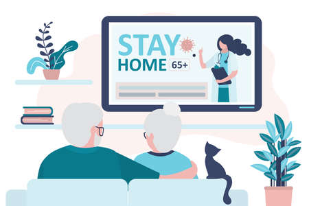 Elderly couple watch news on tv. Doctor warn to stay home 65 and older on screen. Quarantine or self-isolation. Grandparents health care.Fears of getting coronavirus. Viral epidemic or pandemic.Vector