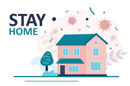 Stay home banner template. Family two-story house. Quarantine or self-isolation. Health care concept. Fears of getting coronavirus. Global viral epidemic or pandemic. Trendy flat vector illustration