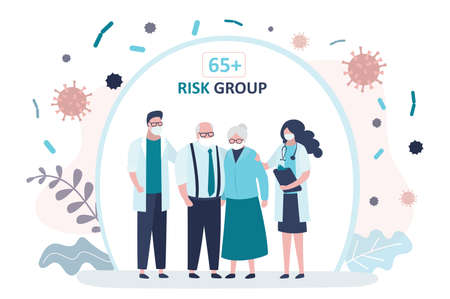 Grandparents parents is protected from viruses and diseases. Doctors and elderly couple. Good immunity, vaccination and healthy lifestyle. Coronavirus risk age group 65 and older. Vector illustration