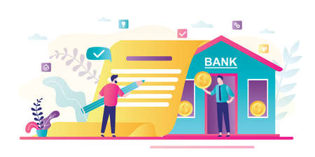 Businessman signs loan agreement. Bank building, credit manager giving money. Business people in trendy style. Loan process concept. Male clerk with gold coin. Flat vector illustration