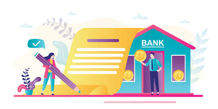 Businesswoman signs a loan agreement. Bank building, credit manager giving money. Business people in trendy style. Loan process concept. Male clerk with gold coin. Flat vector illustration Stock Illustratie