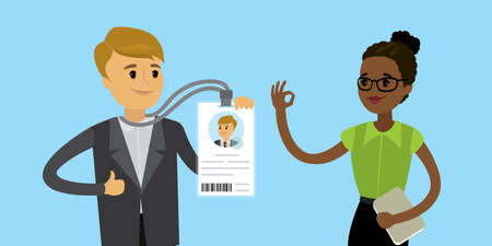 Happy caucasian businessman with badge or id card and african american woman checker, flat Vector illustration. Vector Illustration