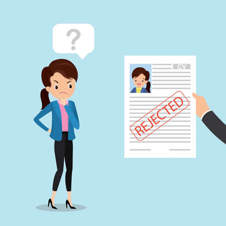 Sad caucasian female, hand holding cv resume paper with red stamp- rejected, failed job search concept, aggrieved office worker or business woman, flat vector illustration Иллюстрация