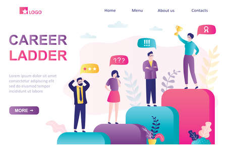 Career ladder landing page. Success in business, corporate relations. Group of various businesspeople standing on stairs. Reward, successful businesswoman, unhappy colleagues. Trendy vector illustration