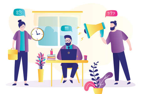 Angry boss shouts through a megaphone at his employees. Sad business man with modern laptop works. Deadline and Overwork. Time Management, Business Scheduling. Flat trendy vector illustration