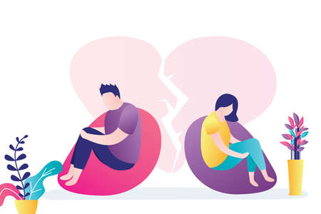 Couple in quarrel. Psychology mental problems concept. Depression and divorce, paranoia anger control. Relationship family conflict, stress. Male and female characters. Flat Vector illustration