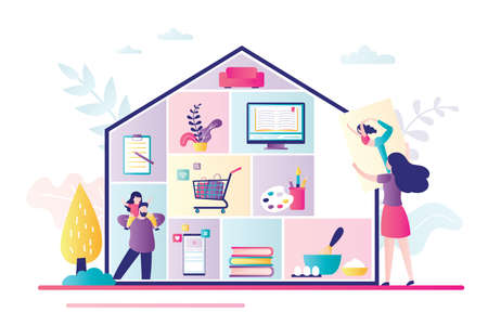 Home activities, entertainments and works. Family at home. House silhouette with rooms, people and household items. Self isolation or quarantine. Trendy style vector illustration Vektoros illusztráció