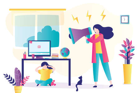 Child abuse. Parent abusing kid, mother shouts in loudspeaker to unhappy daughter. Cartoon woman scolds unhappy teenage girl hid under the table. Family problems concept. Home conflict. Trendy vector