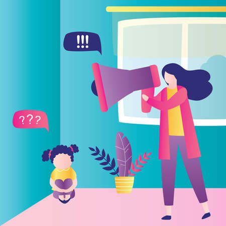 Child abuse. Parent abusing kid, mother shouts in loudspeaker to unhappy daughter. Cartoon woman scolds unhappy girl sitting in corner of room. Family problems concept. Home conflict. Flat Vector