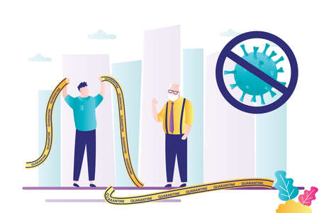 End of quarantine. Happy man holding pieces of yellow warning tape. virus stopped, Viral infection virus does not spread. Healthcare banner. Elderly man on street. Trendy Vector illustration Ilustración de vector