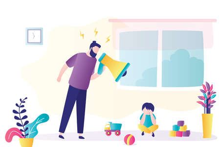 Child abuse. Parent abusing kid, father shouts in loudspeaker to unhappy son. Cartoon angry man scolds at crying boy. Family problems concept. Home conflict. Trendy flat vector illustration