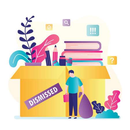 Dismissed man worker. Big box with things and upset unemployed. Jobless, unhappy male character. Global financial crisis concept. Staff reduction, layoffs, optimization.Trendy flat Vector illustration