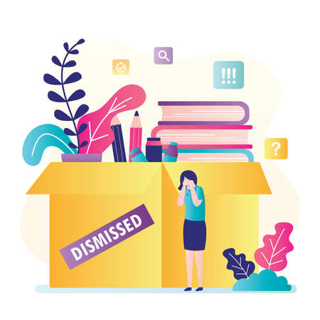 Dismissed female worker crying. Big box with things and upset unemployed. Jobless, unhappy female character. Global financial crisis concept. Staff reduction, layoffs, optimization.Vector illustration